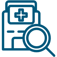 Hospital and magnifying glass icon